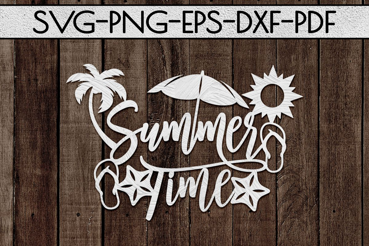 Summer Time Paper Cut Template, Summer Beach Decor SVG, PDF example image 1