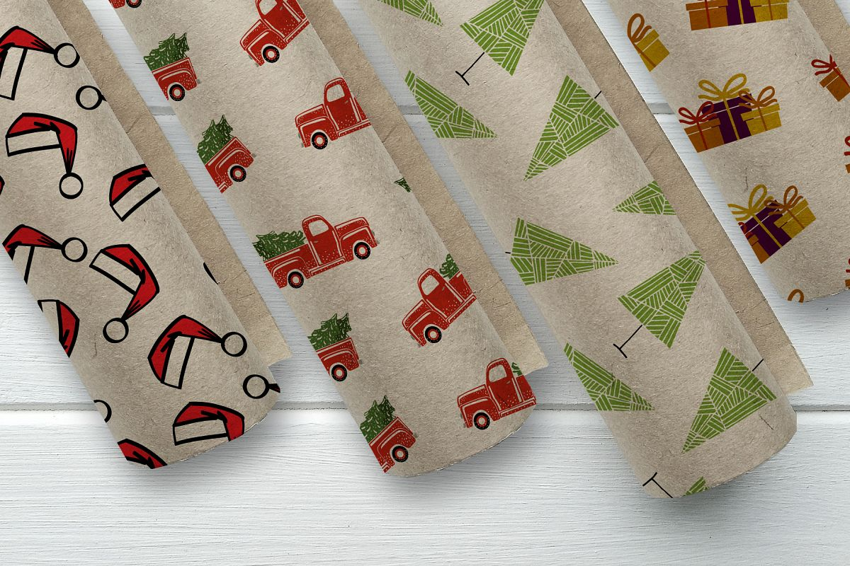 Set of 4 Christmas seamless patterns. example image 1