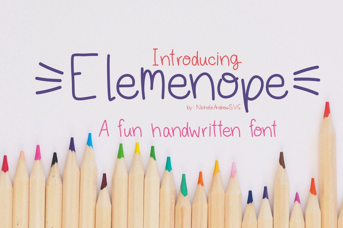 Elemenope, A fun handwritten font example image 1