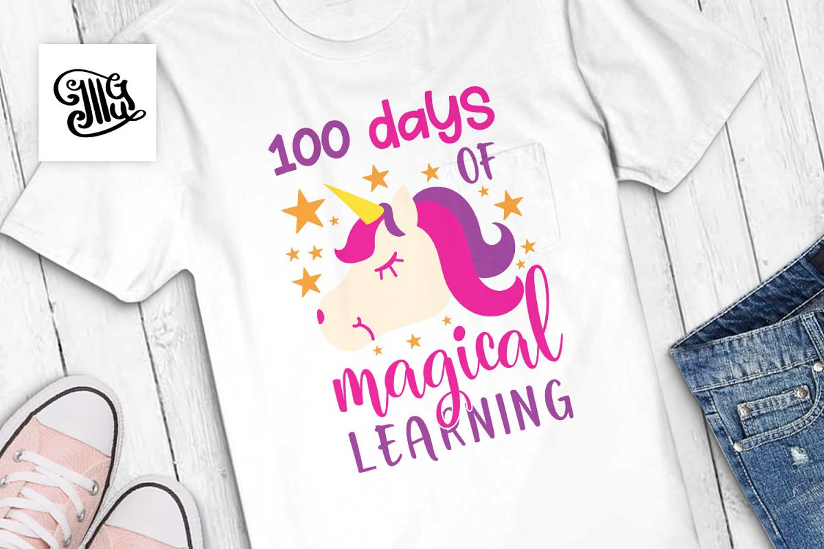 100 days of school for girl svg with unicorn head clipart example image 1