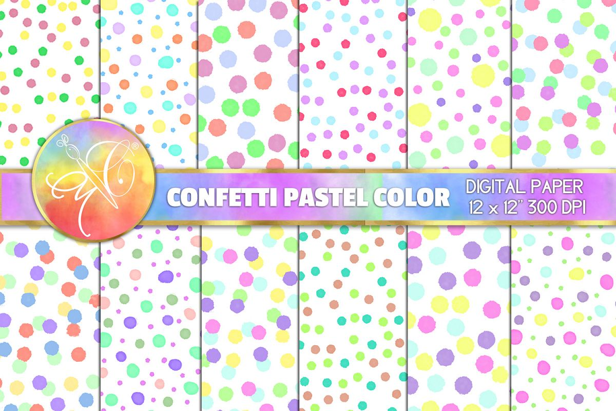 Confetti Digital Paper, Pastel Color, Digital Background example image 1