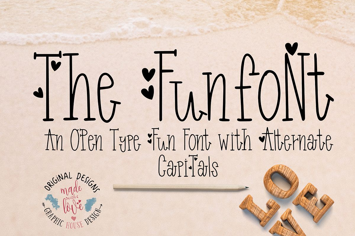 Funfont - Modern Hand Lettered Font with Cute Alternate Capitals example image 1