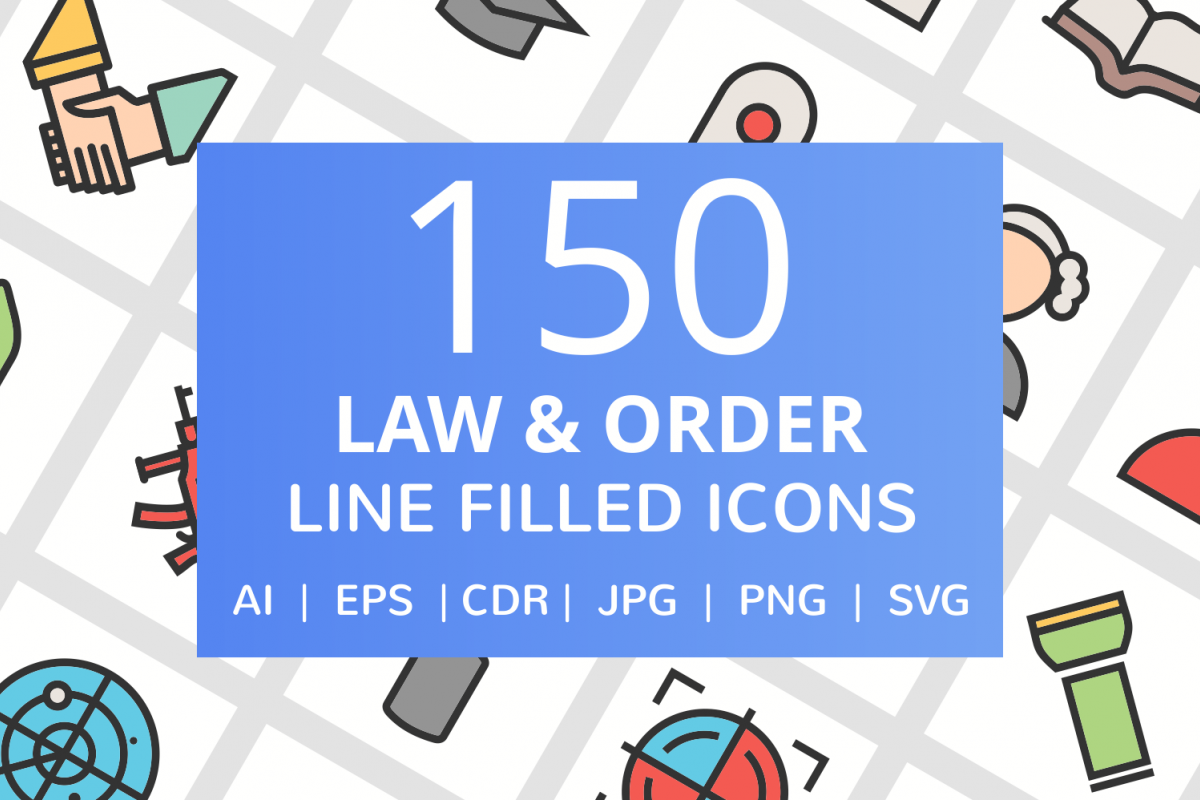150 Law & Order FIlled Line Icons example image 1