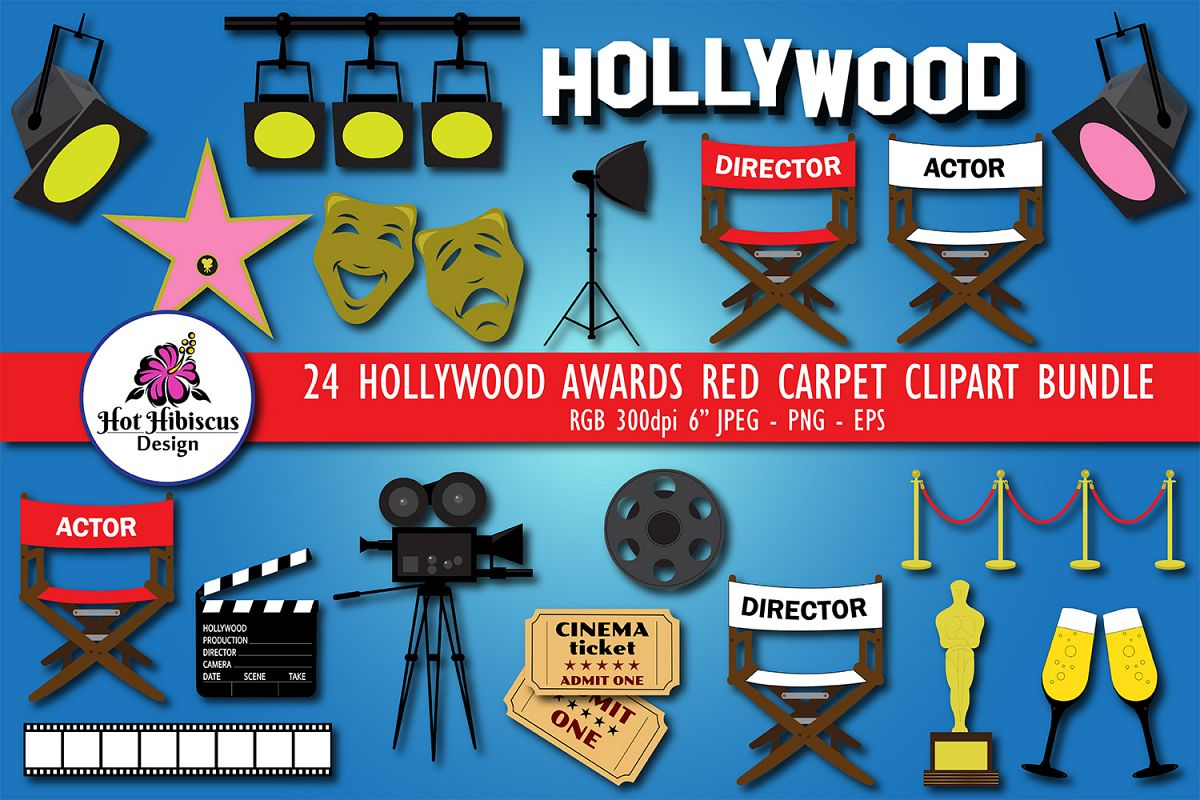 Hollywood Awards Red Carpet Movie Night Clipart Bundle example image 1
