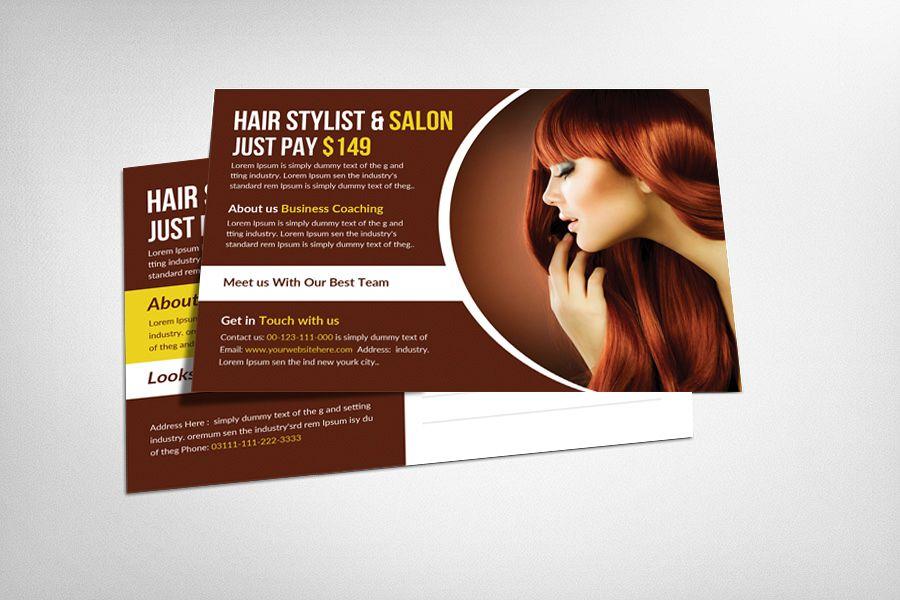 Hair Stylist & Salon Postcard Template example image 1