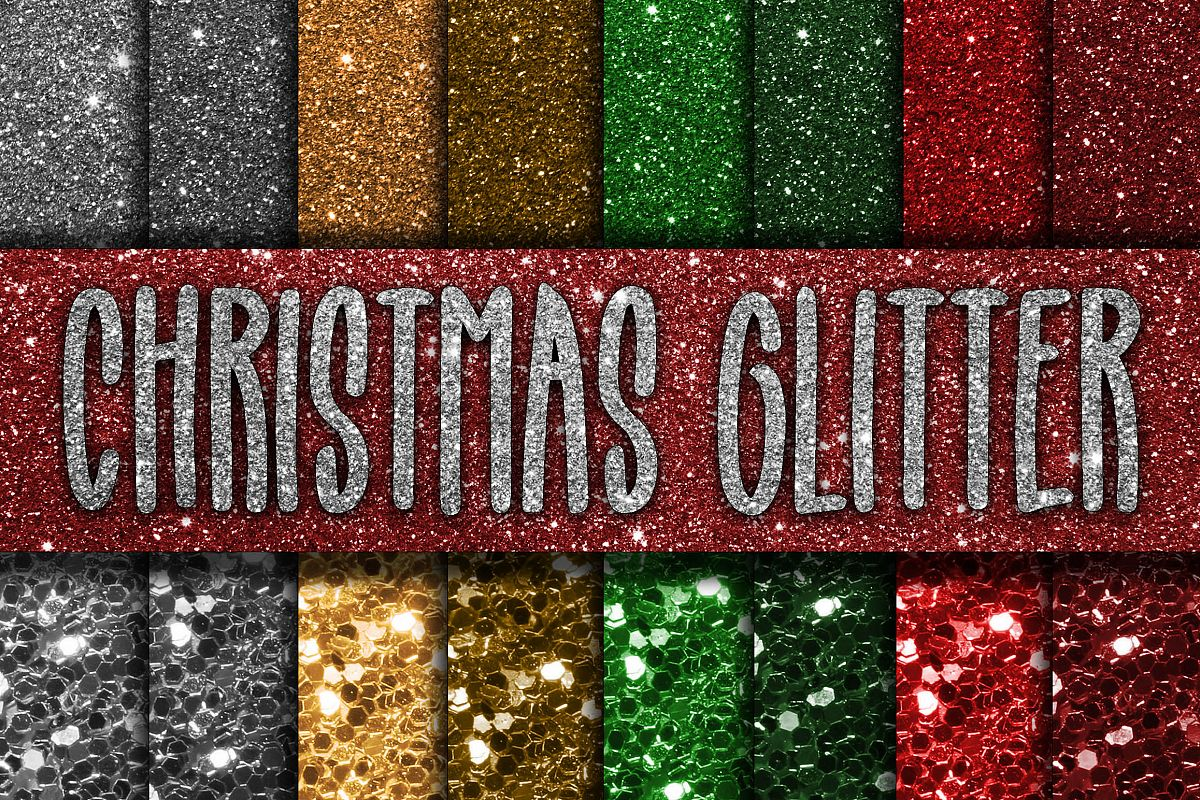 Christmas Glitter Digital Papers example image 1