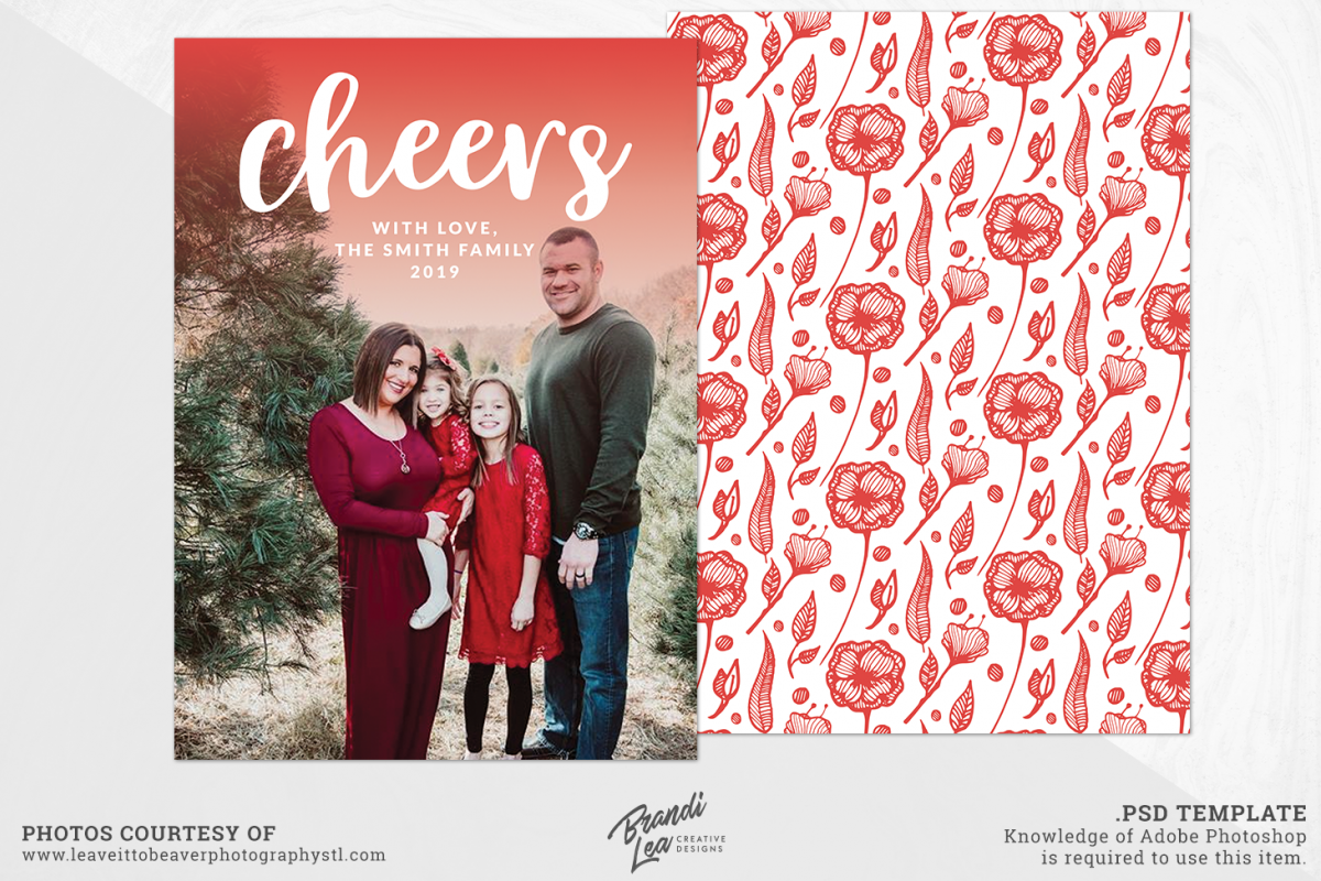 Photography Christmas Card Photoshop Template