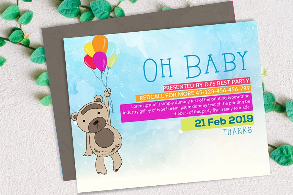 Oh Baby Shower Invitation Card example image 1