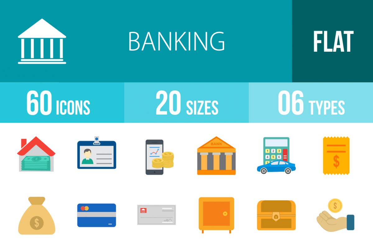 60 Banking Flat Multicolor Icons example image 1