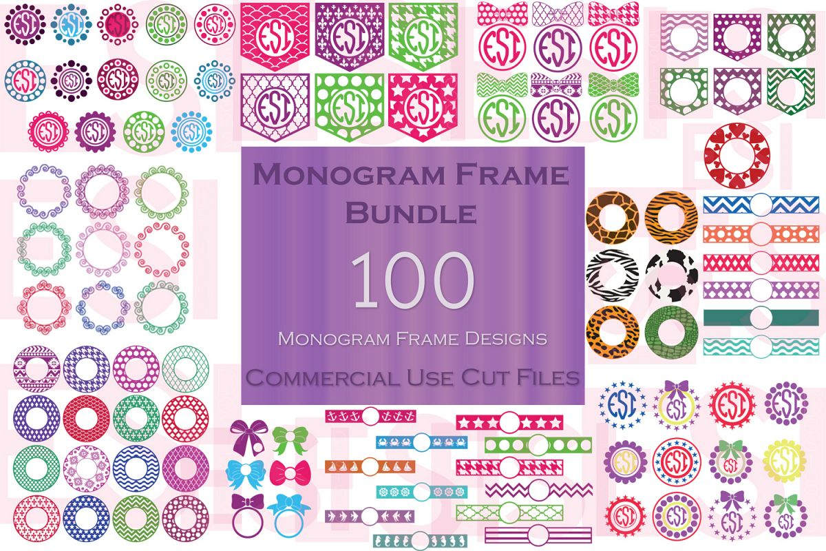 Monogram Frame Bundle - 100 Frames for Monogramming. example image 1