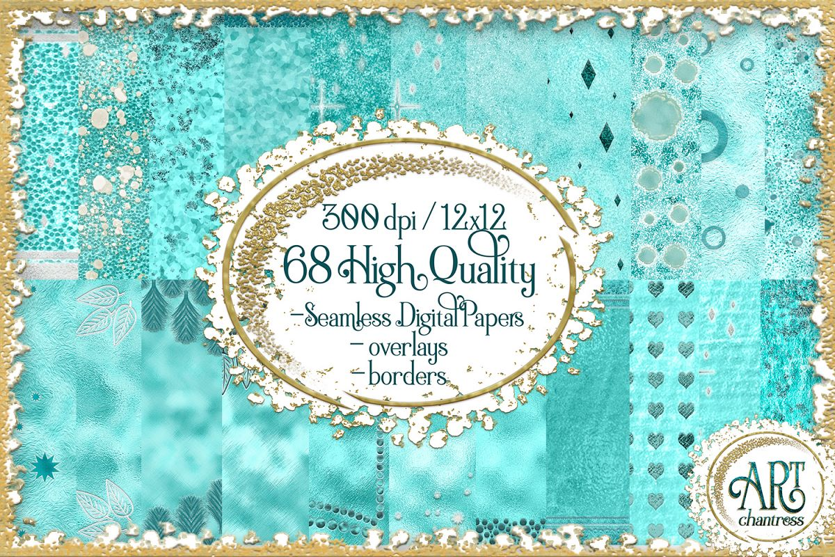Teal Aqua Foil Glitter Seamless Digital Papers,Borders Set example image 1