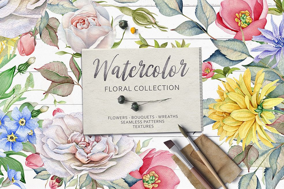 15%OFF. Watercolor Floral Collection example image 1