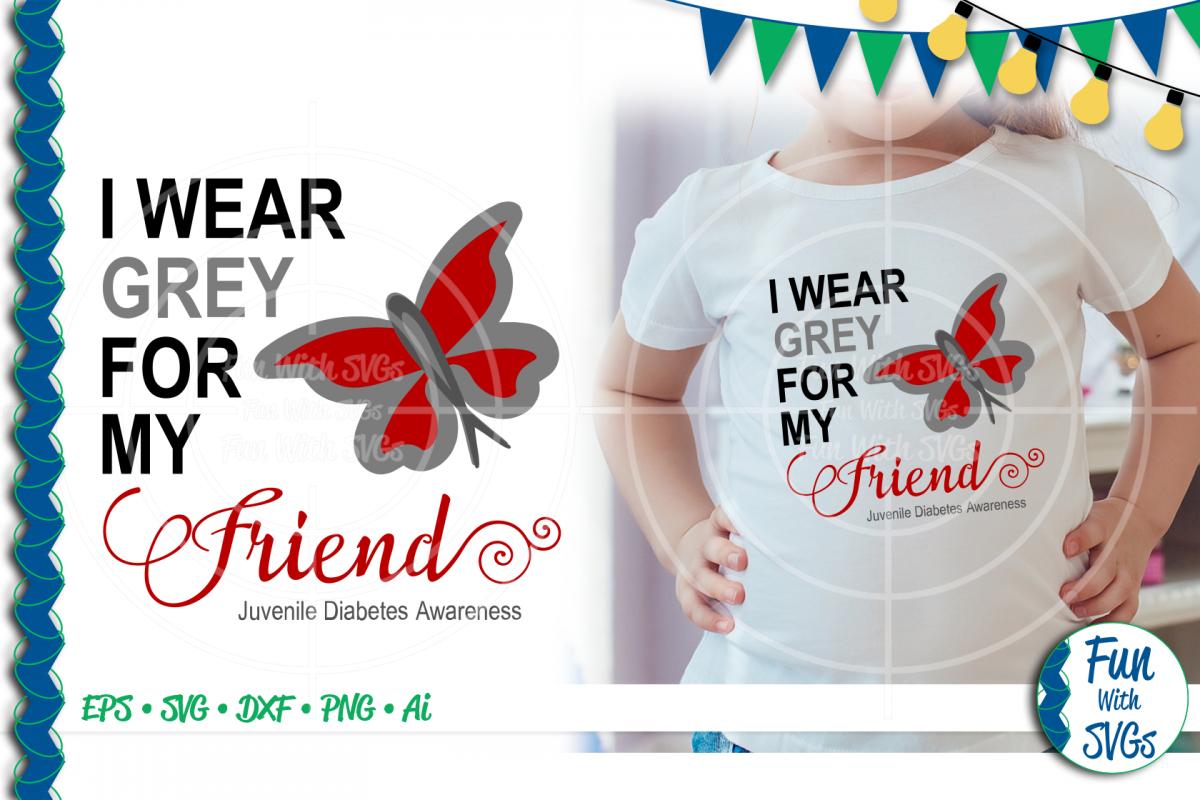 SVG I Wear Grey Juvenile Diabetes, Cut File, FWS474 example image 1