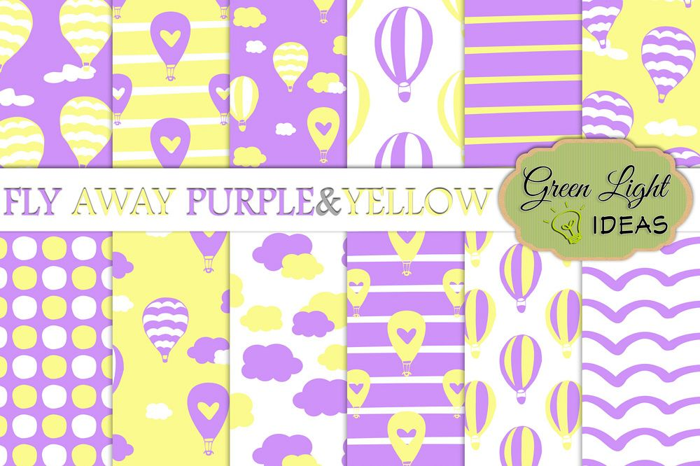 Purple and Yellow Hot Air Balloons Digital Papers example image 1