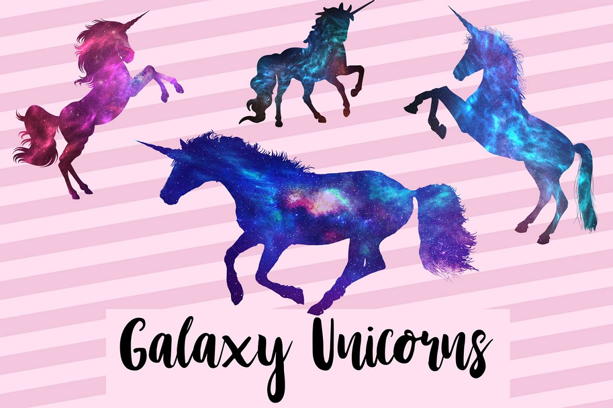 Unicorn galaxy. Graphics space clipart magical