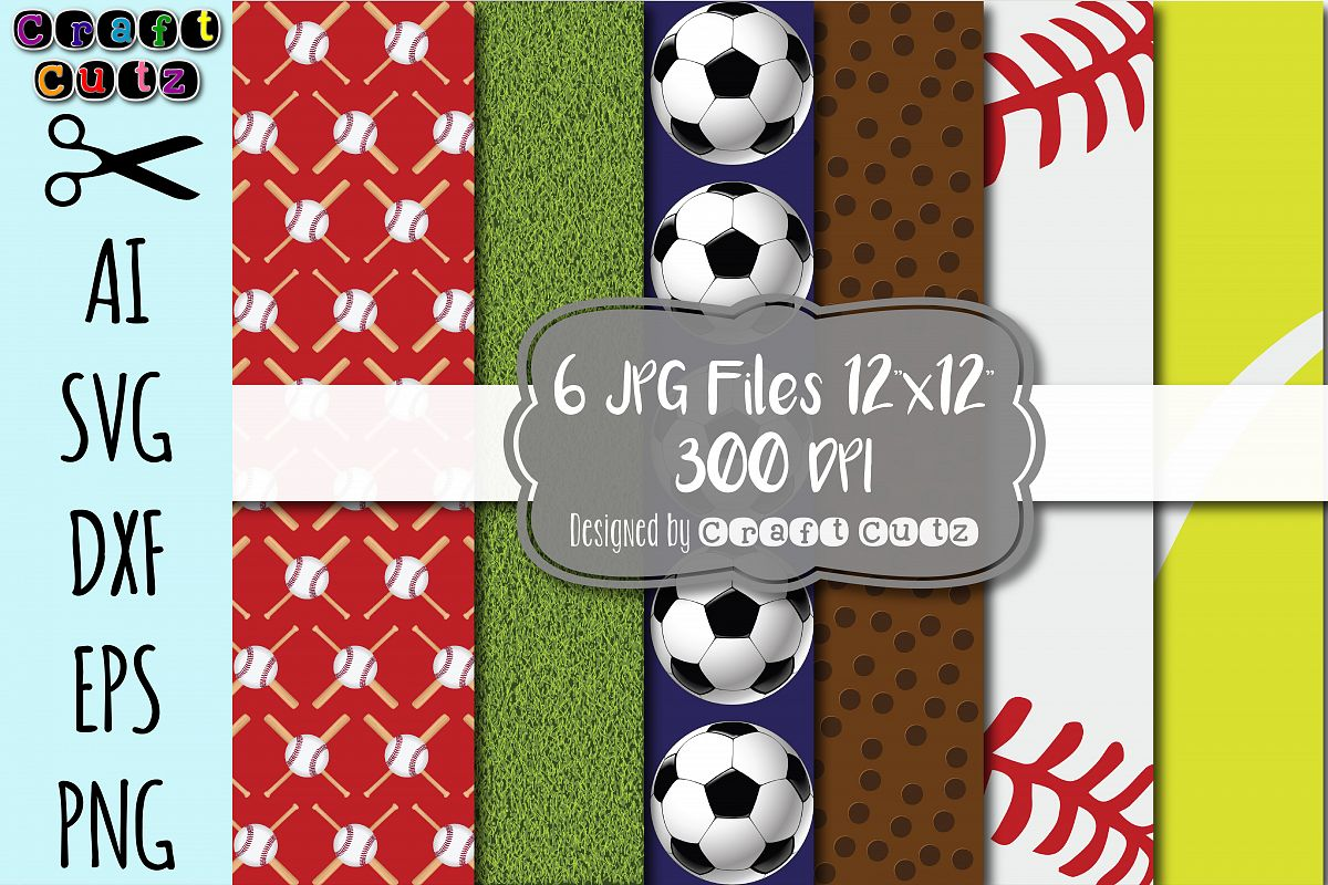 Sports Digital Paper Set INSTANT DOWNLOAD Baseball Football Backgrounds Birthday Invitations