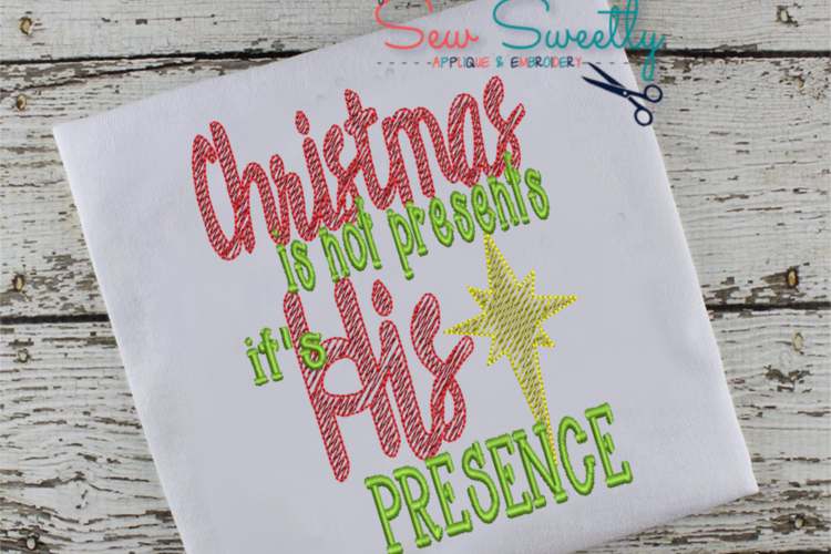 Christmas Word Art Applique Embroidery Design example image 1