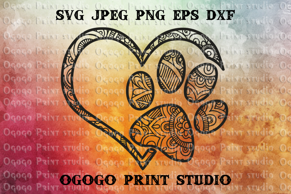 Dog paw SVG, Zentangle SVG, Heart SVG, Pet love svg, Mandala example image 1