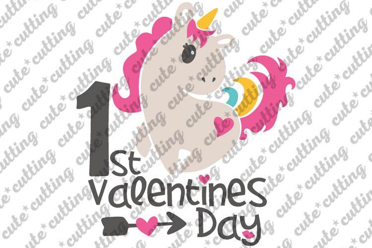Valentines day svg, First Valentines day svg, Unicorn svg example image 1