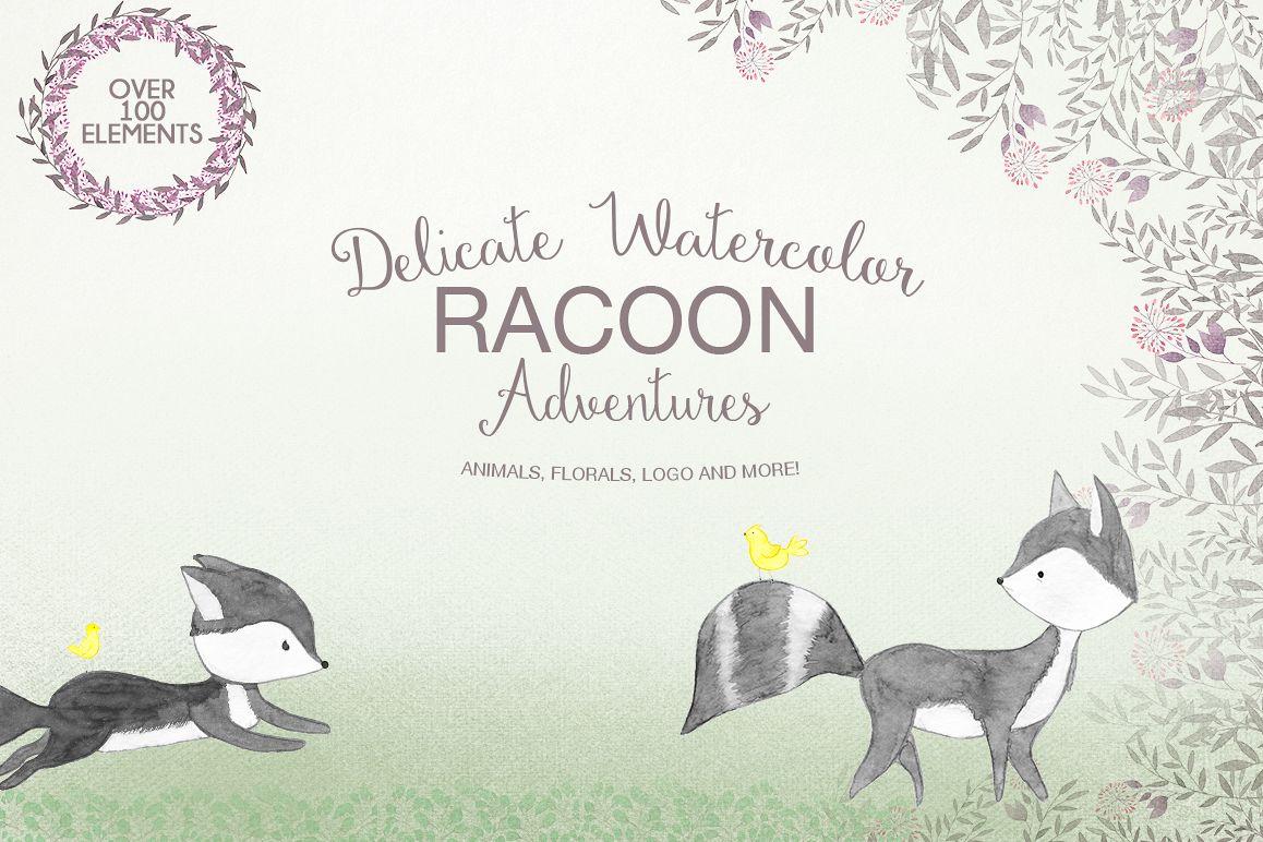 Delicate watercolor Racoon example image 1