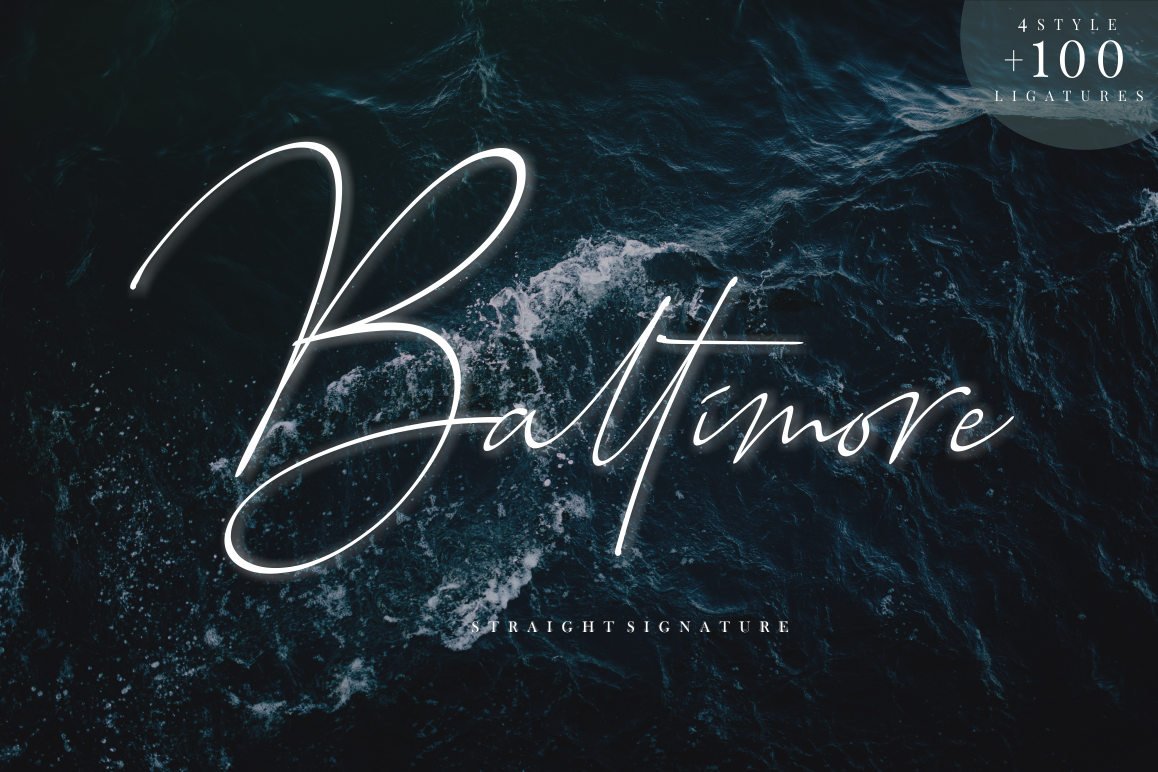 Baltimore // Straight Signature Font example image 1