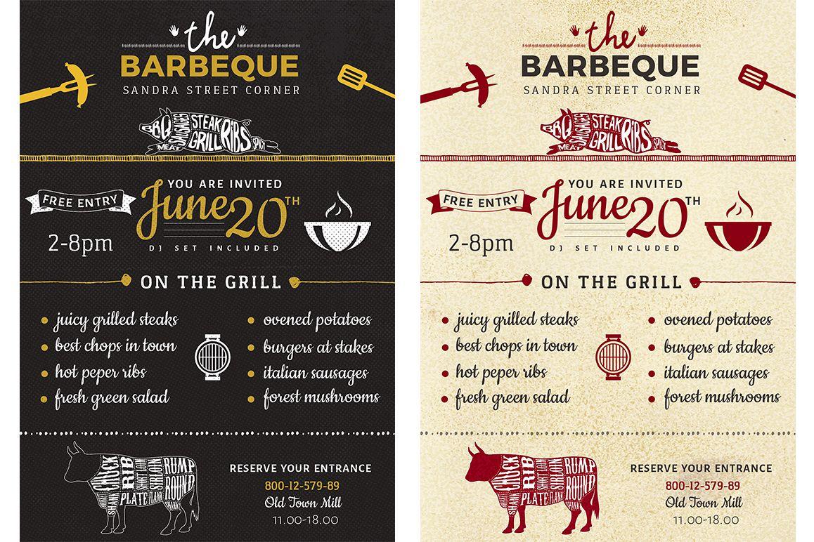 customizable barbecue flyer barbecue invitation psd file in two
