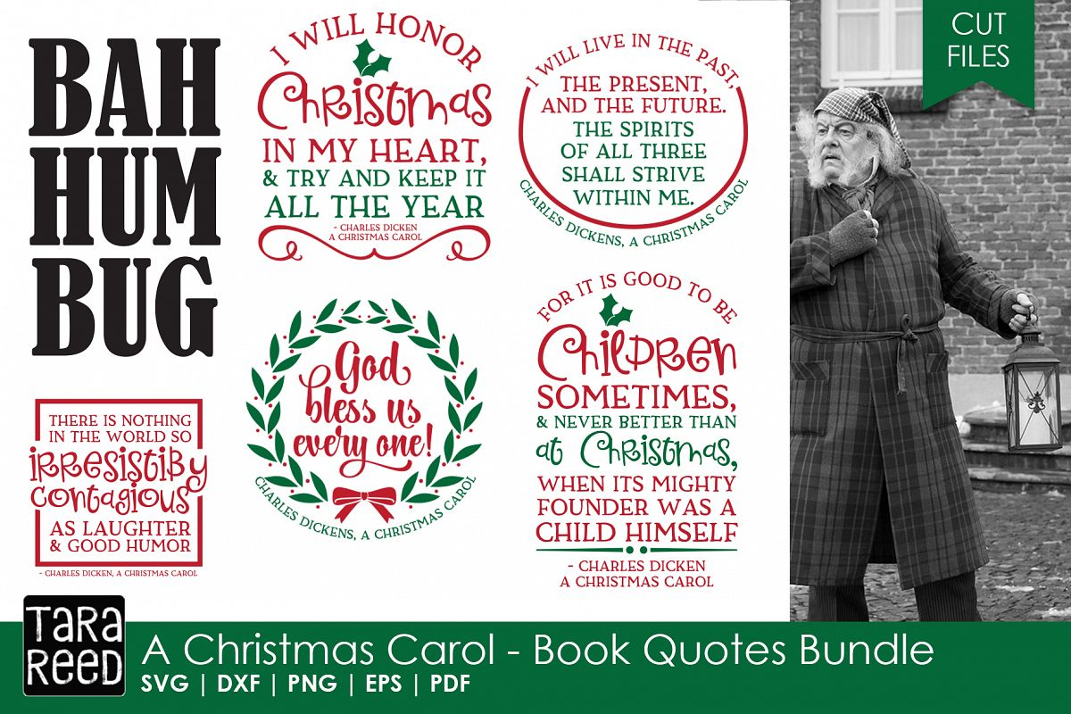 A christmas carol book quotes christmas svg files example image 1
