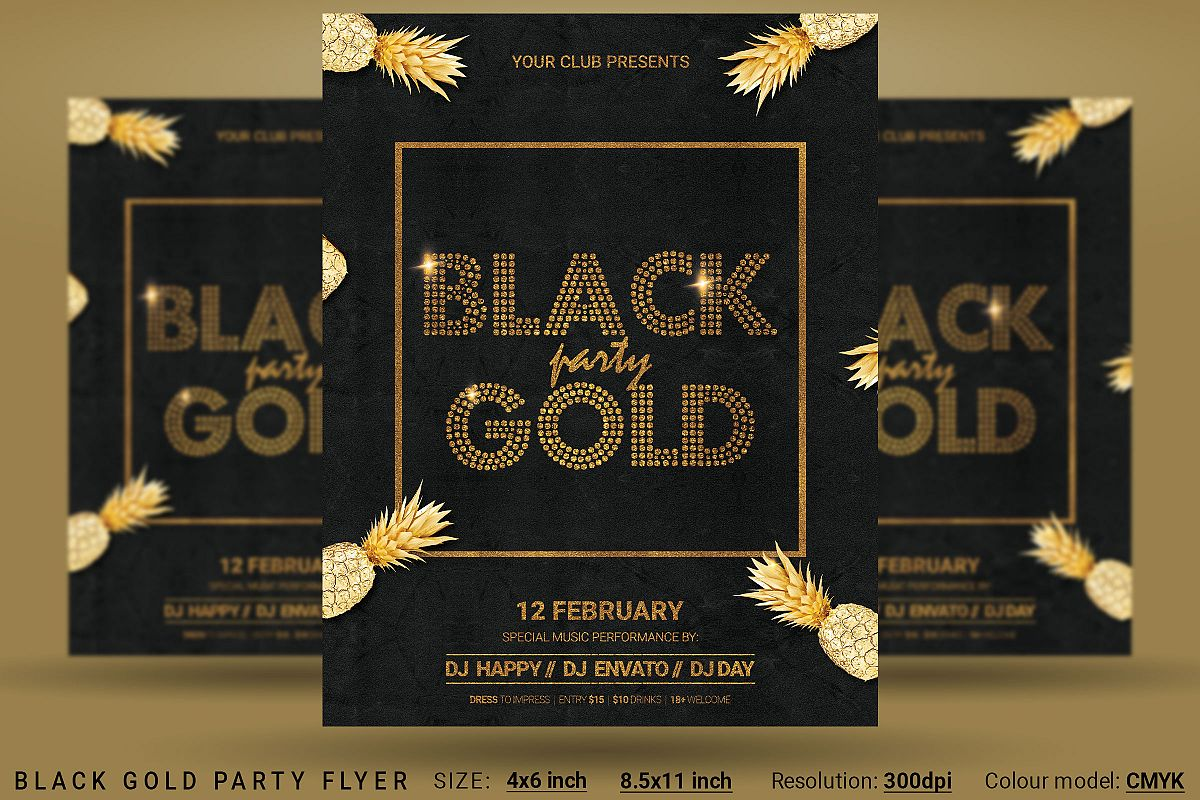 Black Gold Party Flyer Poster