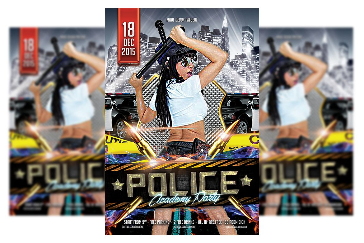 Police Party Flyer Templates example image 1