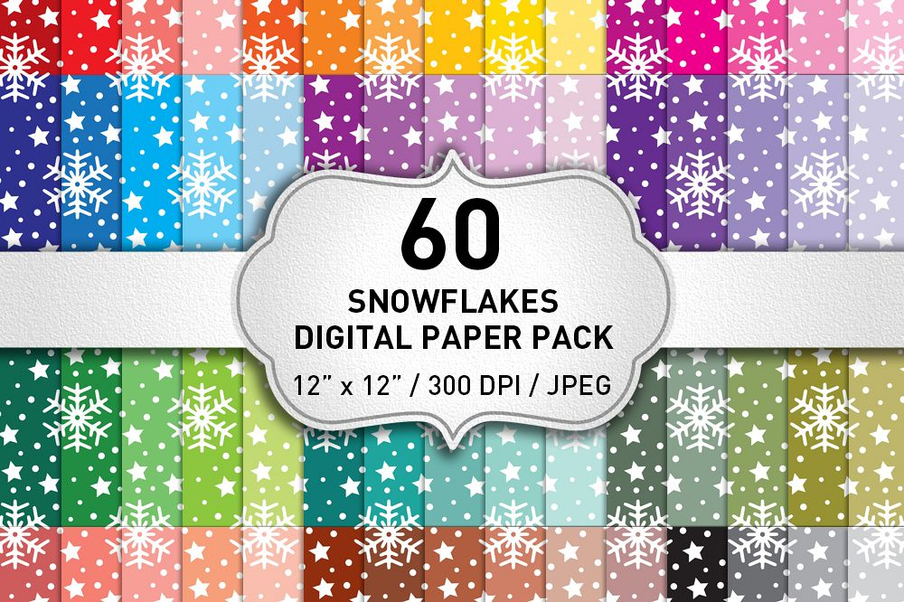 Snowflakes Christmas Digital Paper Pack / Backgrounds / Scrapbooking / Patterns / Printables / Card Making example image 1