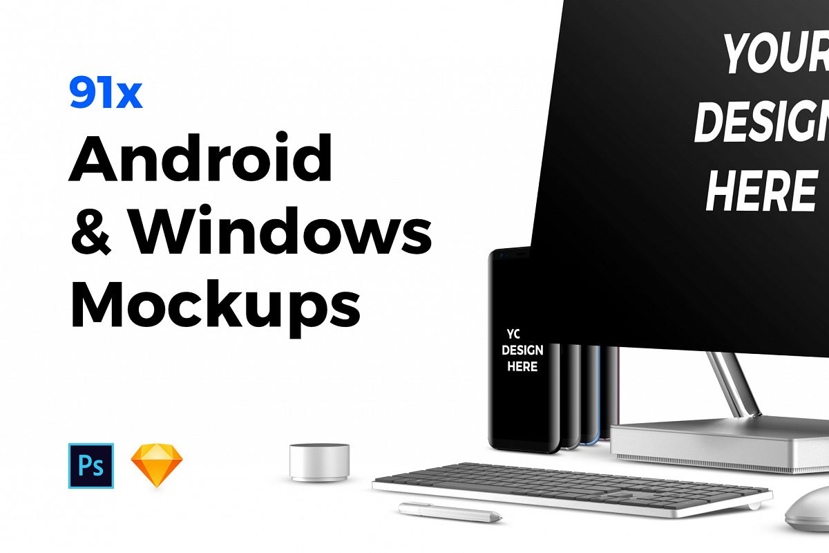 91x Android & Windows Mockups example image 1