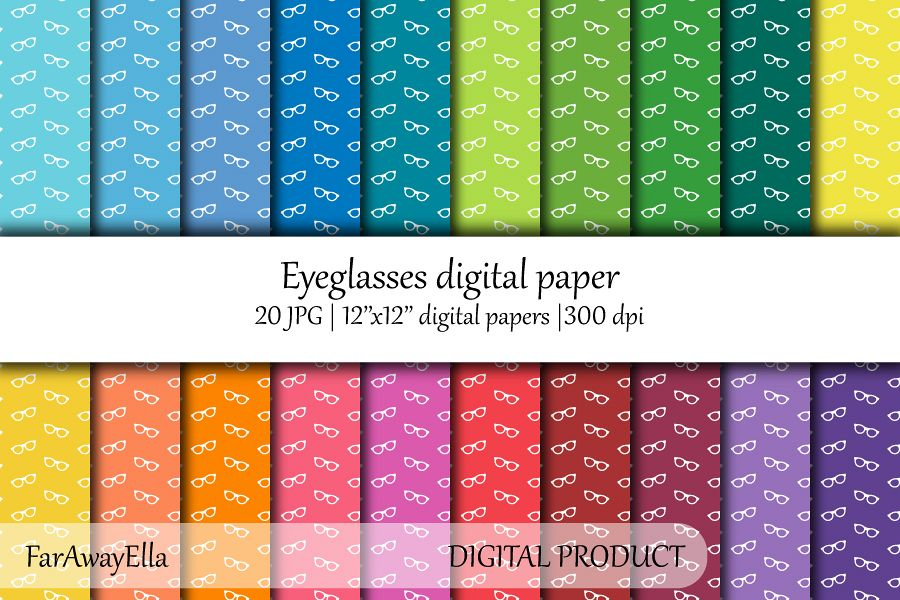 Eyeglasses JPG digital paper | 20 seamless patterns example image 1