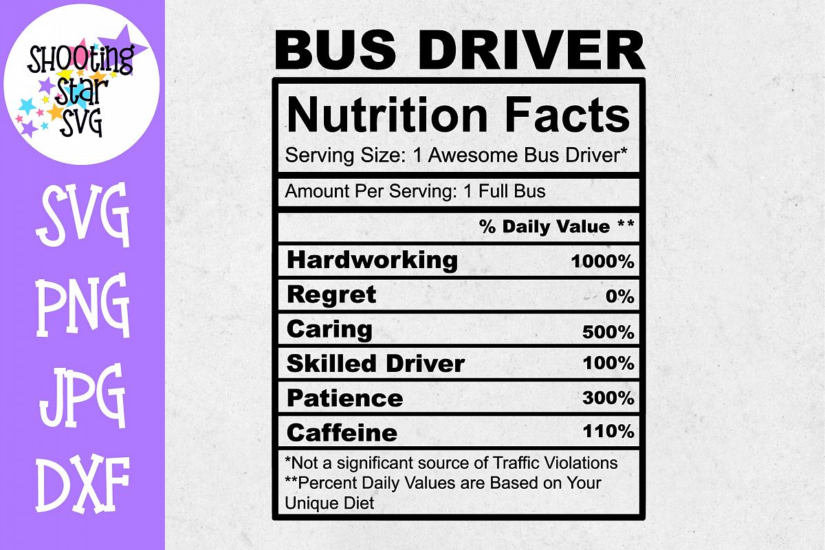 Bus Driver Nutrition Facts SVG - Bus Driver SVG example image 1