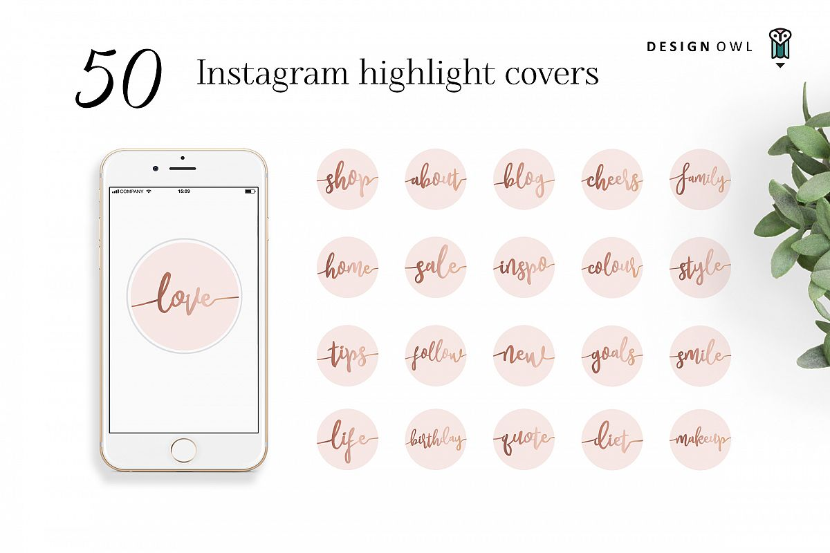 Instagram highlight covers - Rose gold script on pink example image 1