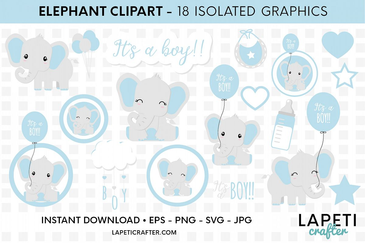 Its a boy Elephant clipart, gender reveal, baby shower svg example image 1