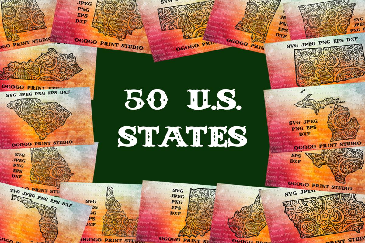 Mandala style 50 states Svg BUNDLE, United States, Zentangle example image 1