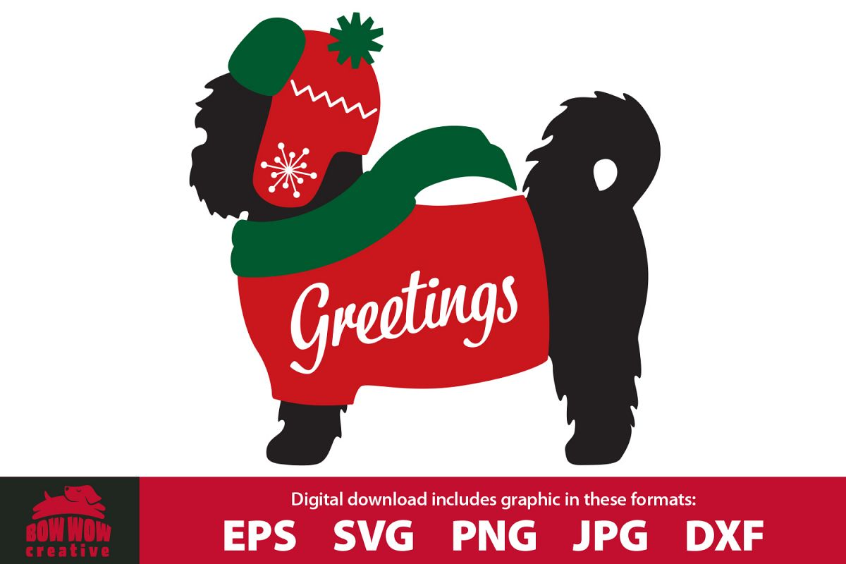 Winter / Christmas Shih Tzu wearing sweater, scarf & hat example image 1