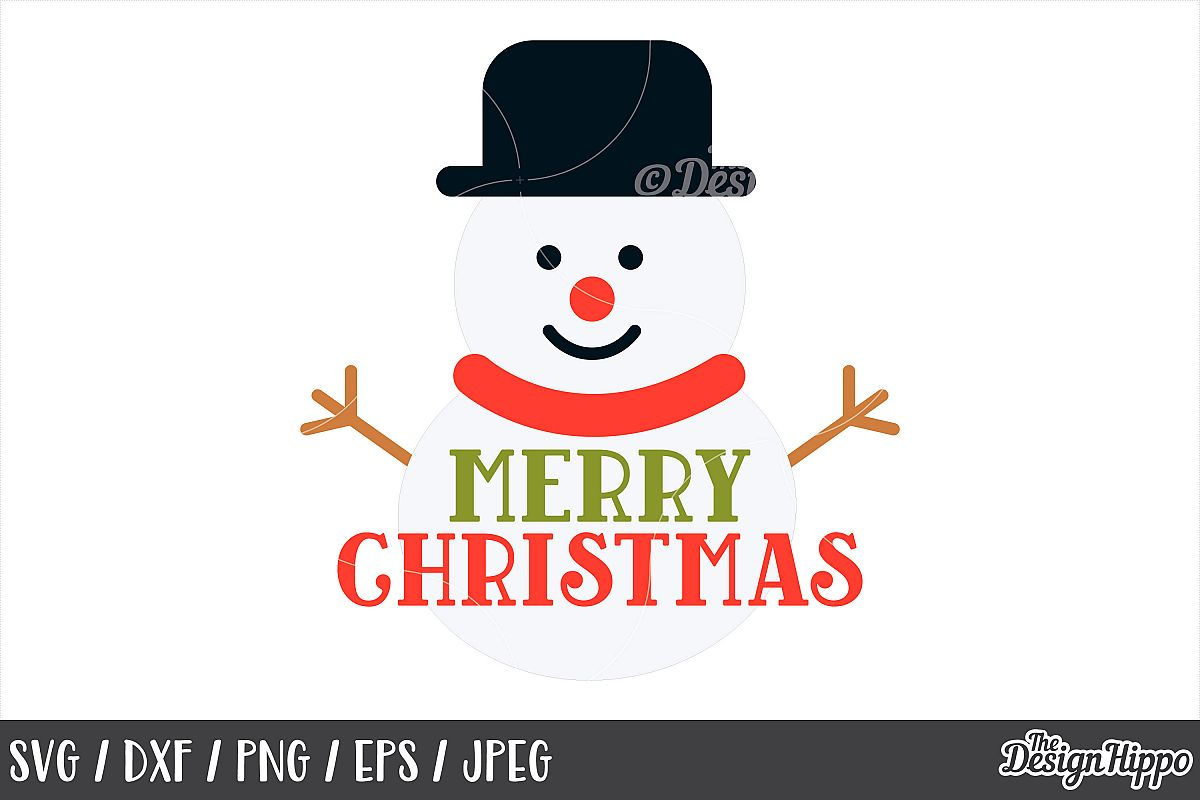 Christmas Snowman, Merry Christmas SVG, PNG, DXF, Cut Files example image 1