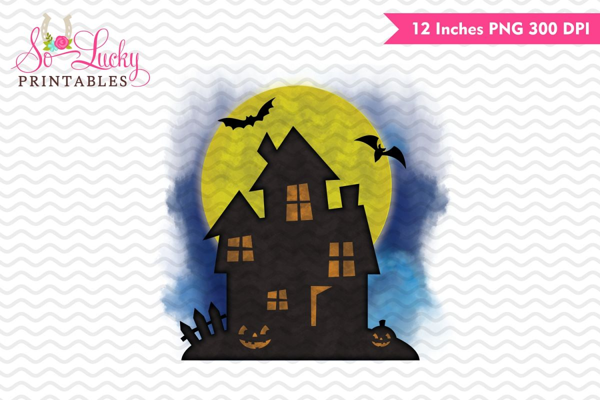 Haunted House Halloween watercolor sublimation design example image 1