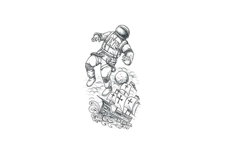 Astronaut Tethered to Caravel Tattoo example image 1