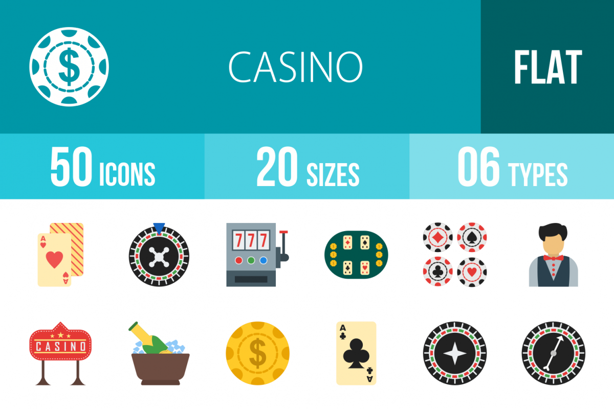 50 Casino Flat Multicolor Icons example image 1