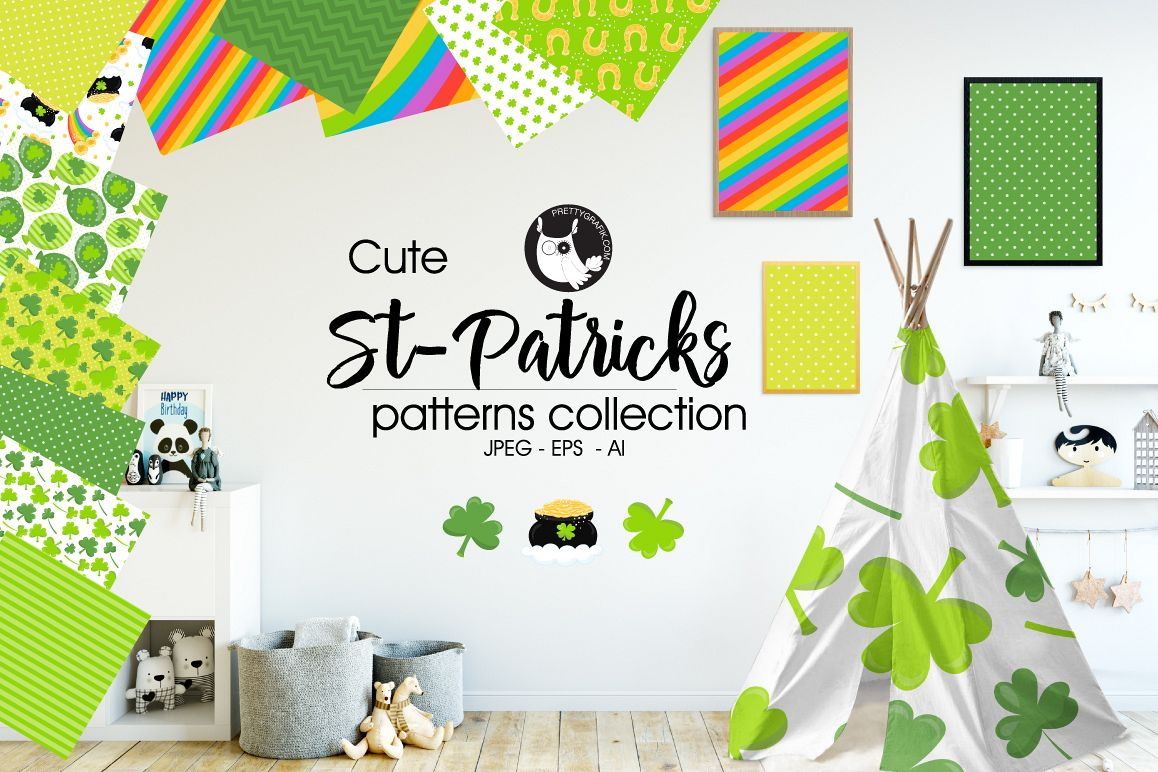 ST-PATRICKS, digital papers example image 1
