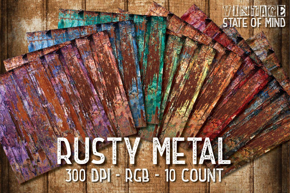 Rusty Metal Digital Papers example image 1