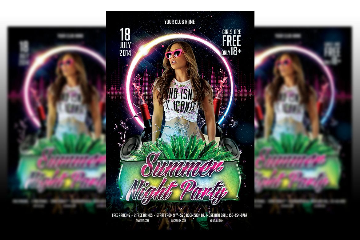 Summer Night Party flyer templates example image 1