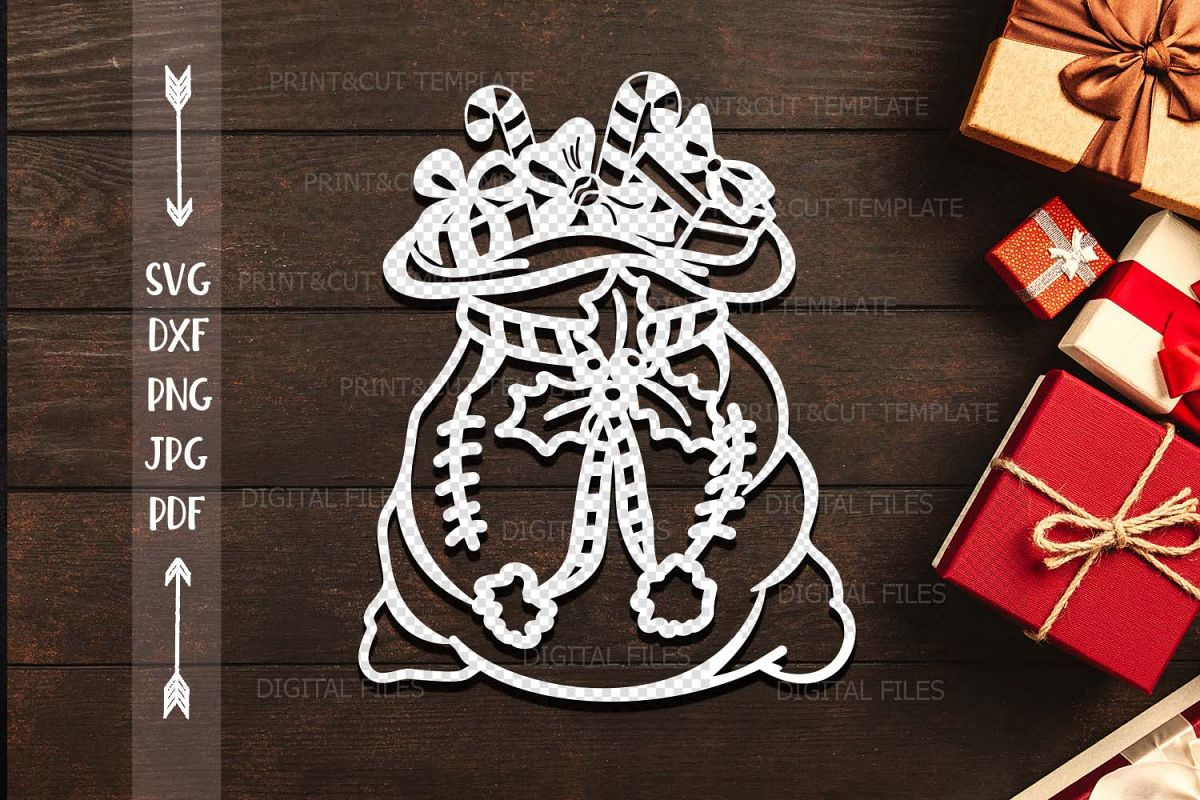 Christmas Santa sack paper machine cut template svg dxf file example image 1