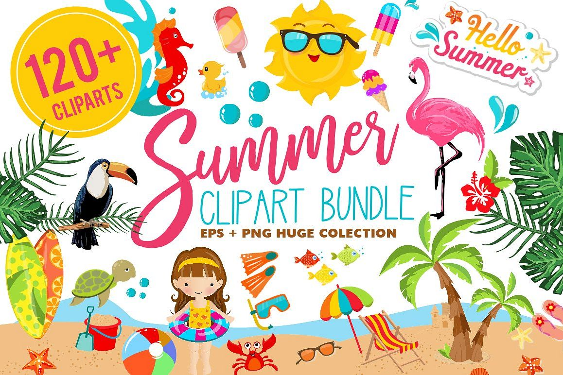 Summer Clipart Bundle - 126 cliparts example image 1