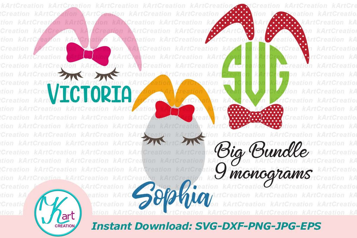 Bunny ears eggs kid monogram bundle set svg dxf clipart png example image 1