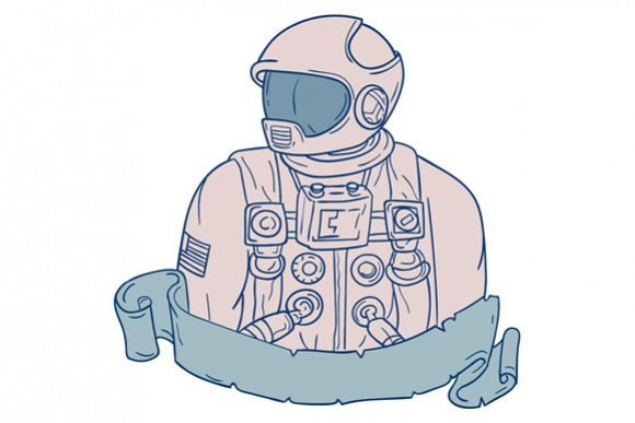 Astronaut Bust Ribbon Drawing example image 1