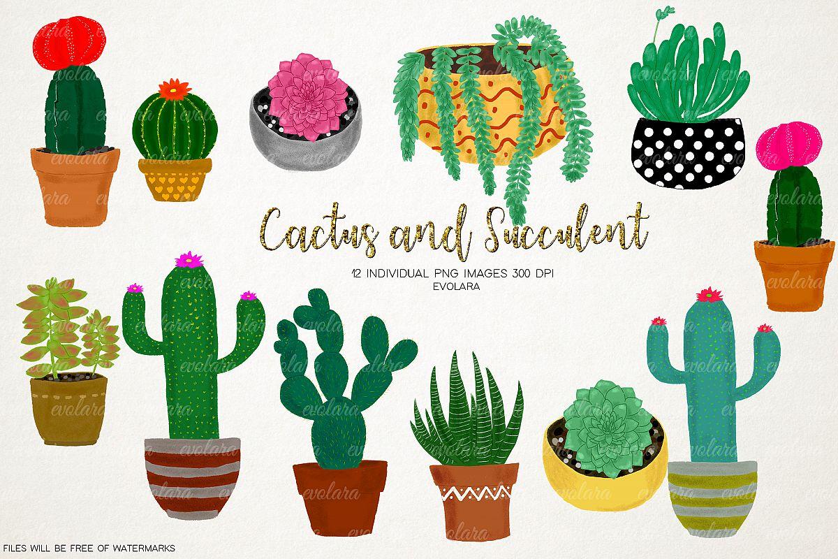 Boho Cactus Clipart Succulents Clipart Plant Clipart Cactus example image 1