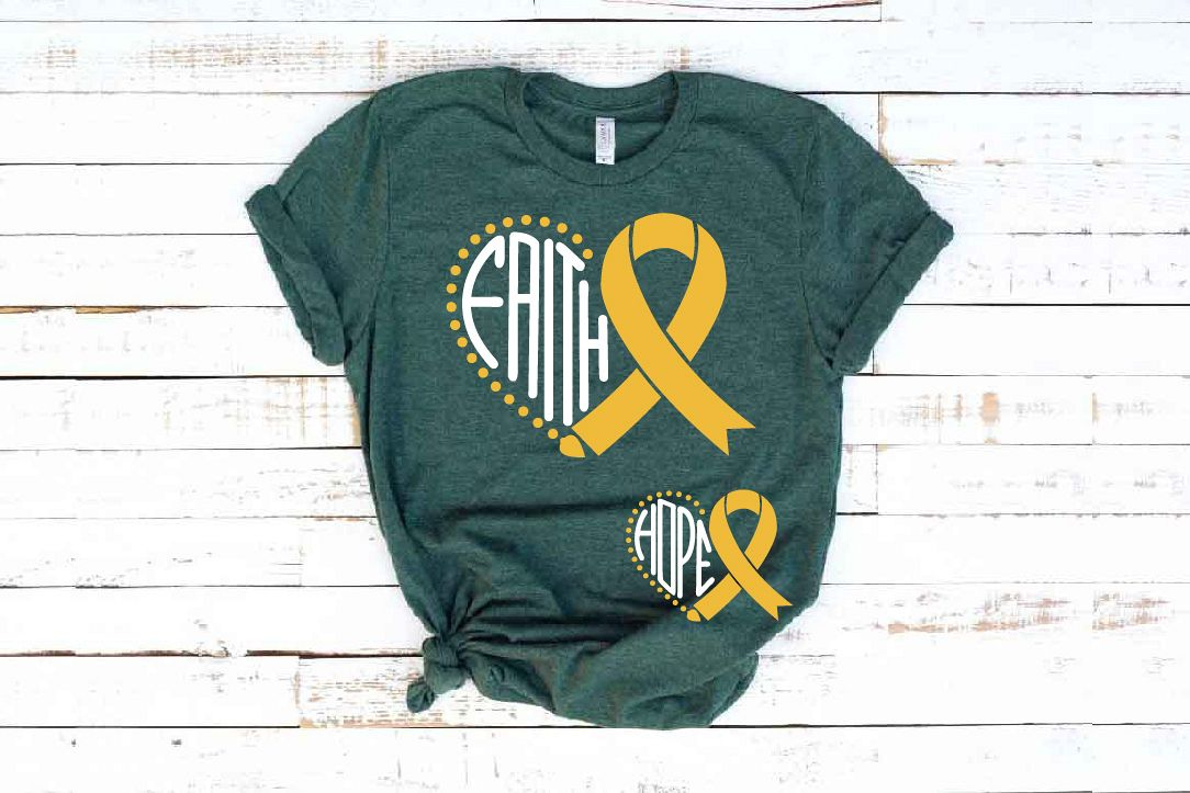 Faith Hope Heart SVG Childhood Cancer Awareness ribbon 1558 example image 1